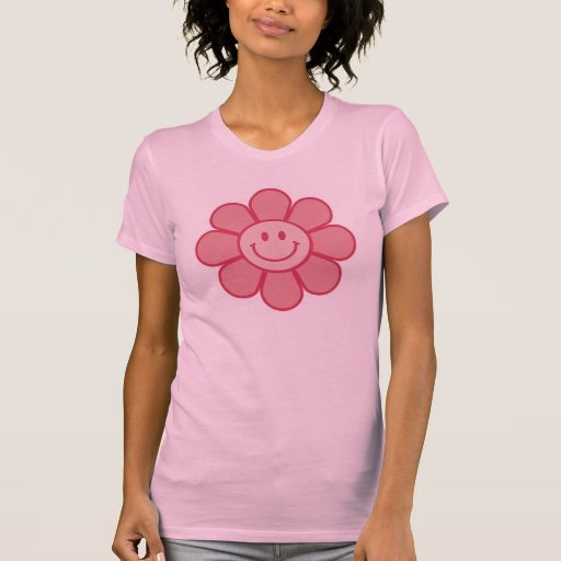 Pink Smiley Flower Ladies Basic T-Shirt