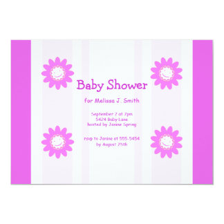 Pink Smiley Flowers Girl Baby Shower Card