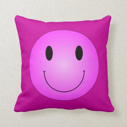 Pink Smiley Pillow