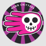 Hand shaped Pink Smiley Skull Classic Round Sticker