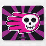 Hand shaped Pink Smiley Skull Mouse Pad