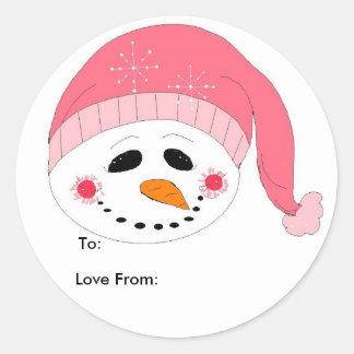 Pink Smiley Snowman Classic Round Sticker