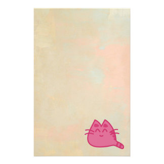 Pink Smiling Kitty Cat Stationery