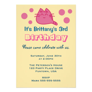 Pink Smiling Kitty Cat with Dots Birthday Party Card