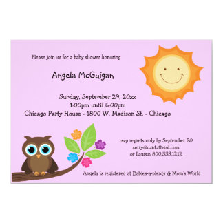 Pink Smiling Sunshine And Owl Baby Shower Invite