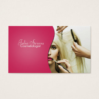 Pink smooth cosmetology business card