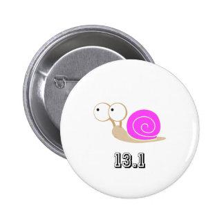 Pink Snail 13.1 (half marathon) Pinback Button