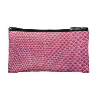 Pink snake, lizard or reptile skin (faux leather) cosmetic bag