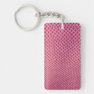 Pink snake, lizard or reptile skin (faux leather) keychain