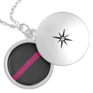 Pink snakeskin glitter effect stripe black leather round locket necklace