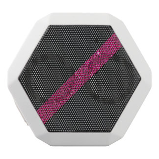 Pink snakeskin glitter effect stripe black leather white bluetooth speaker