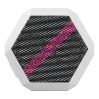 Pink snakeskin glitter effect stripe black leather white bluetooth speaker