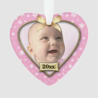 Pink/Snow Baby's 1st Christmas Ornament