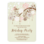 Pink Snow Bird Floral Holiday Party Invitation