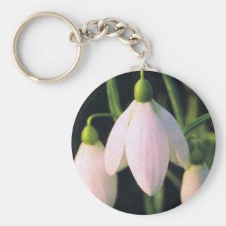 pink snow drop basic round button keychain