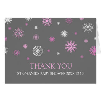 Pink Snow Winter Baby Shower Thank You Card