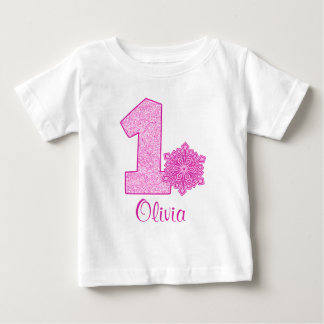 Pink Snowflake 1st Birthday Personalized Baby T-Shirt