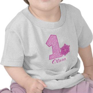 Pink Snowflake 1st Birthday Personalized Shirt