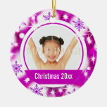 Pink snowflake 2 photo personalize ornament