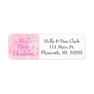 Pink Snowflake Address Label
