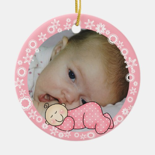 Pink Snowflake Baby 1st Christmas Ornament