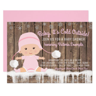 Pink Snowflake Baby its Cold Outside Baby Shower Card