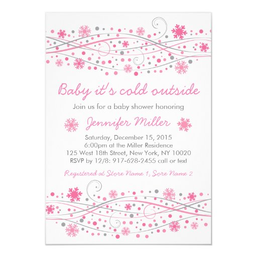 pink snowflake baby shower invitations zazzle