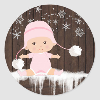 Pink Snowflake Baby Shower Stickers