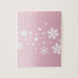 Pink Snowflake Background Jigsaw Puzzle