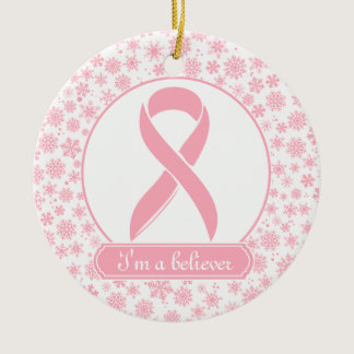 Pink Snowflake Breast Cancer Ornament