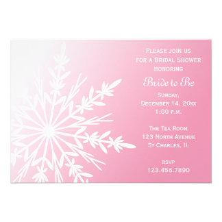 Pink Snowflake Bridal Shower Invitation