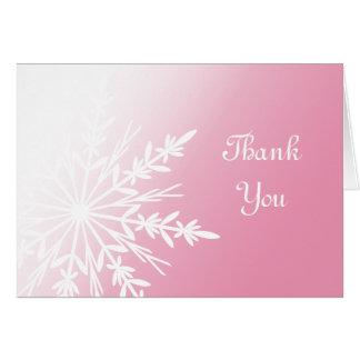 Pink Snowflake Bridesmaid Thank You Card
