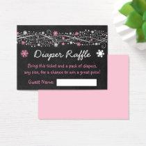 Pink Snowflake Chalkboard Diaper Raffle Tickets