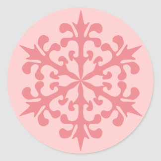 Pink Snowflake Classic Round Sticker