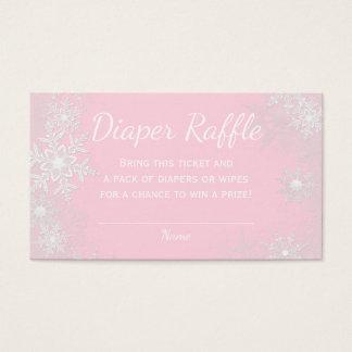 Pink Snowflake Diaper Raffle Tickets