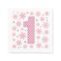 Pink Snowflake First Birthday Napkins