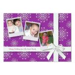 "Pink Snowflake Gems Flat Holiday Card 5"" X 7"" Invitation Card"