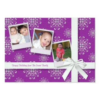 Pink Snowflake Gems Flat Holiday Card