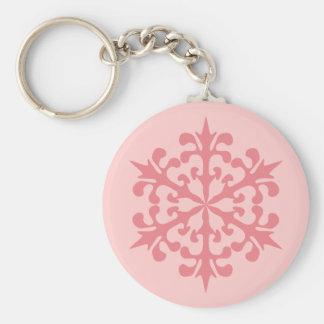 Pink Snowflake Basic Round Button Keychain