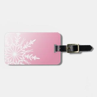 Pink Snowflake Luggage Tag