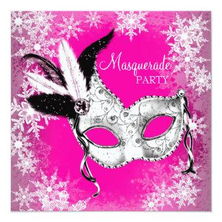 Pink Snowflake Masquerade Party Card