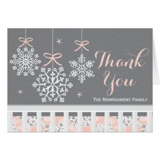 Pink Snowflake Mobile Baby Shower Thank You Card