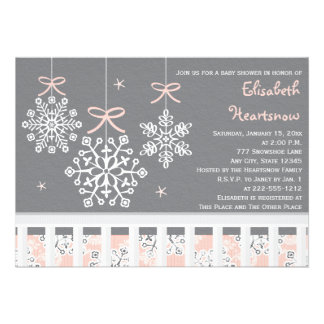 Pink Snowflake Mobile Crib Baby Shower Invitation