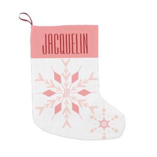 Pink Snowflake Monogram | Christmas Stocking Small Christmas Stocking