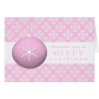 Pink Snowflake Ornament Cards