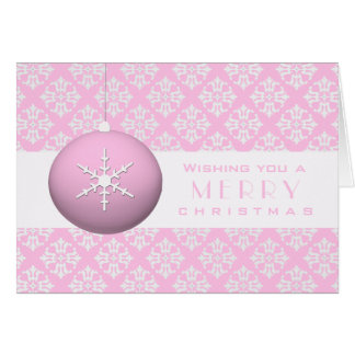 Pink Snowflake Ornament Greeting Cards