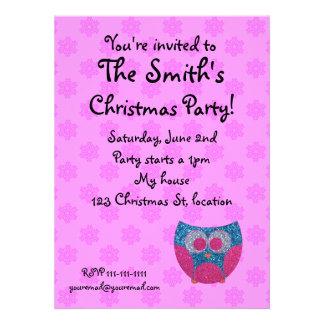Pink snowflake owl invitation
