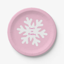 Pink Snowflake Personalized Paper Plates