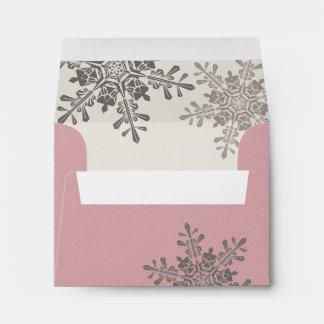 Pink Snowflake Return Address Wedding A2 Envelope