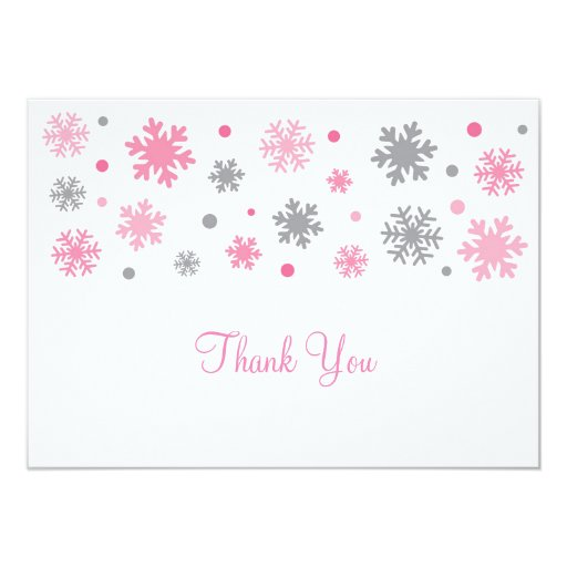 Pink Snowflake Thank You Cards